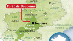 Localisation de la forêt de Bouconne en Haute-Garonne