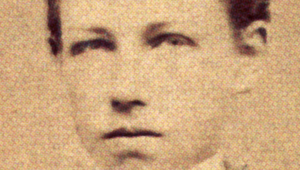 Une reproduction d'une photo du poète Arthur Rimbaud