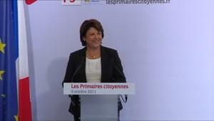 Marine Aubry lors de son discours au soir du premier tour de la primaire PS