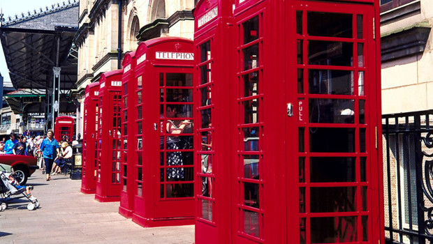 Cabines téléphoniques à Londres - Royaume-Uni.