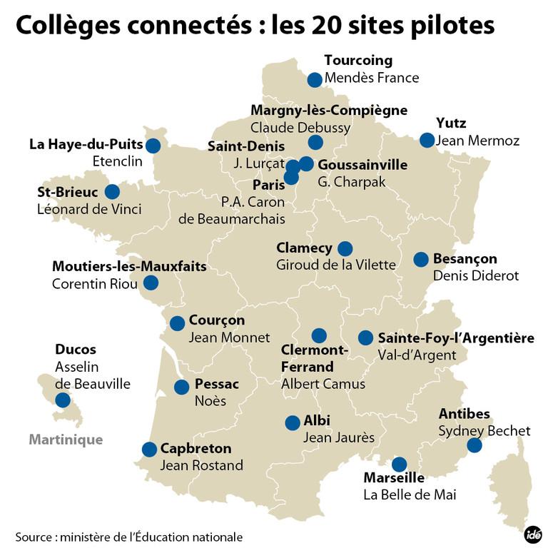 La carte des 20 sites pilote