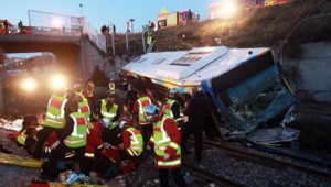 Le bus accidenté à Marseille, le 14 avril 2012