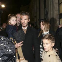 David Beckham et ses enfants à Paris le 18 février 2013.