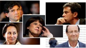 Manuel Valls, Ségolène Royal, François Hollande, Arnaud Montebourg et Martine Aubry, candidats à la primaire du PS