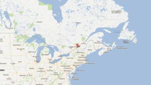 Carte du Canada et des Etats-Unis, Montreal au centre.