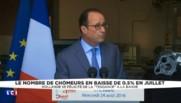 """François Hollande : """"La tendance, c'est la baisse du chômage"""""""