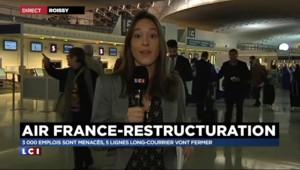 """Air France : 2.900 postes menacés, une journée """"presque normale"""" à Roissy"""