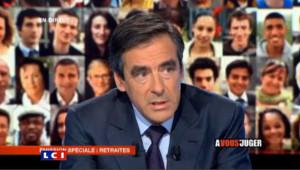 """François Fillon lors de l'émission """"A Vous de juger"""" sur France 2 le 9 septembre 2010"""