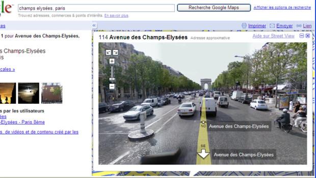 Google Street View sur les Champs Elysées