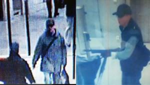 Les premières images du tireur présumé (à gauche dans la rue diffusé par www.infosdefense.com, à droite lors de la fusillade à BFMTV)