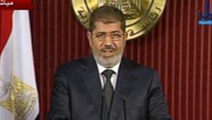 Le président égyptien Mohamed Morsi, durant une allocution télévisée le 6 décembre 2012.