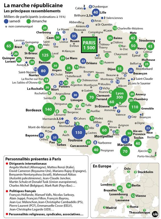 La carte des manifestations du 11 janvier