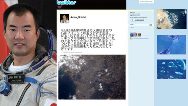 Montage TF1 News du profil twitter de Soichi Noguchi et de ses photos prises de l'ISS