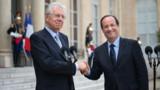 """Hollande et Monti main dans la main pour """"consolider"""" la zone euro"""