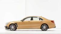 Un beau V8 5.5 litres bi-turbo de 850 ch pour un couple de 1.450 Nm et une carrosserie dorée : voici la Mercedes S63 AMG vue par le préparateur maison Brabus.
