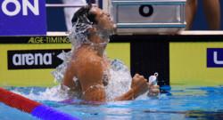 Florent Manaudou remporte le 50m papillon aux championnats d'Europe.