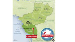 Carte de Vendée avec ville de Chantonnay où une jeune fille a été enlevée devant son collège avant d'être retrouvée vivante dans un fossé