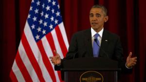 Barack Obama lors d'une conférence de presse à Putrajaya en Malaisie le 27 avril 2014.