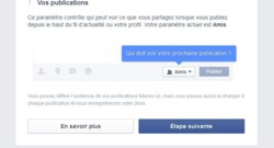 Capture d'écran Facebook, vérification de confidentialité