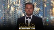 Leonardo DiCaprio, sur scène pour recevoir son Oscar