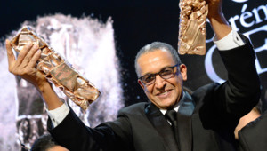 Abderrahmane Sissako et deux des César du film Timbuktu