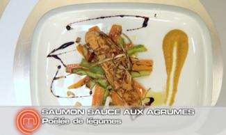 Recette saumon sauce agrumes et sa po l e de l gumes refaire saumon sauce agrumes et sa po l e - Recette tuiles aux amandes masterchef ...