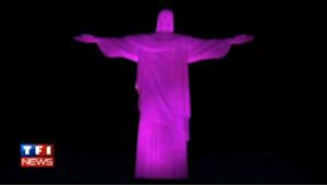Rio : le Corcovado rose contre le cancer du sein