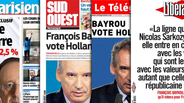 """François Bayrou en """"Une"""" de plusieurs quotidiens après son annonce qu'il voterait Hollande au second tour de la présidentielle (4 mai 2012)"""