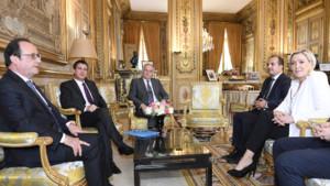 Marine Le Pen reçue à l'Elysée le 25 juin 2016.
