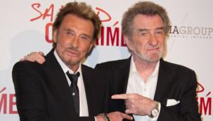 """Johnny Hallyday et Eddy Mitchell pour l'avant première de """"Salaud on t'aime"""" en mars 2014 à paris"""