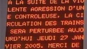 panneau SNCF grève suite viol controleuse