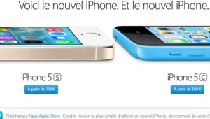 Capture écran de la page d'accueil de la section iPhone de l'Apple Store le 17 octobre 2013.