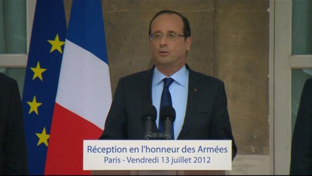 François Hollande au ministère de la Défense le 13 juillet 2012.