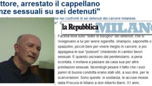 """Un aumônier d'une prison de Milan arrêté pour des accusations d'agressions sexuelles : capture écran du site de """"La Repubblica"""""""