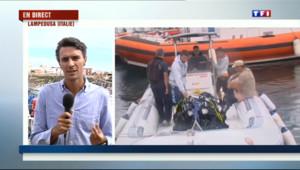 Le 13 heures du 6 octobre 2013 : Naufrage de Lampedusa : les fouilles des dizaines de corps de clandestins ont repris - 204.50017520141597