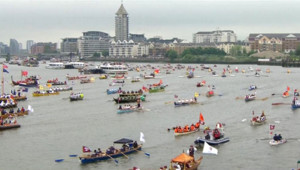 Parade nautique sur la Tamise, à Londres, pour le jubilé de la reine, le 3 juin 2012.