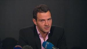 L'ancien trader de la Société Générale Jérôme Kerviel, lors d'une conférence de presse le 27 avril 2012.