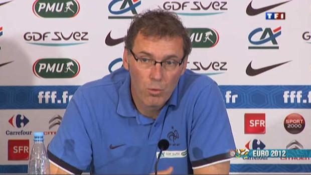 Laurent Blanc, sélectionneur de l'équipe de France de football, en conférence de presse lors de l'euro 2012 (juin 2012)