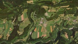 Vue aérienne de la commune de Solemont (Doubs)