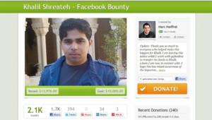 La page de Gofundme dédiée à Khalil Shreateh qui avait hacké la page Facebook de Mark Zuckerberg pour mettre une faille en évidence