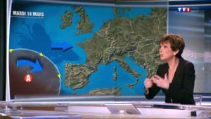 """Le 20 heures du 16 mars 2014 : Catherine Laborde :""""Mardi les vents d'ouest devraient petit �etit chasser la pollution"""" - 635.0460000000002"""