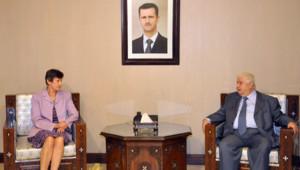 Angela Kane, haute représentante de l'ONU, à Damas.