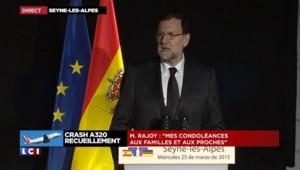 """Rajoy aux familles du crash de l'Airbus A320 : """"Nous souhaitons vous accompagner dans votre deuil"""""""