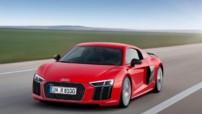 Première photo officielle de l'Audi R8 seconde génération, lancée en 2015 avec un moteur V10 5,2 litres de 540/610 chevaux.