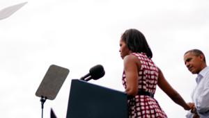 Michelle Obama et Barack Obama lors d'un meeting dans l'Iowa, 16/8/12