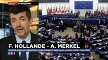 Merkel et Hollande, réunis 26 ans après devant le Parlement européen de Strasbourg