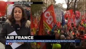 Air France : soutien des salariés d'EDF et des cheminots à la manifestation devant l'Assemblée nationale