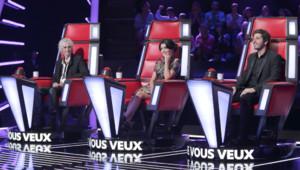 Patrick Fiori, Jenifer et Louis Bertignac sur le plateau de The Voice Kids.