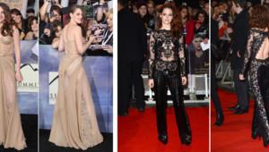 Kristen Stewart lors de l'avant-première de Twilight 5 à Los Angeles le 12 novembre 2012 (à gauche) et à Londres le 14 novembre 2012 (à droite).
