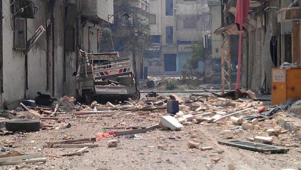 Un quartier de la ville d'Homs, bombardé par le régime syrien. Le 17.06.2012.